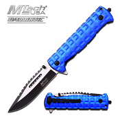 5 inch folder black blade with blue handle