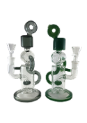 9 Inch Donut Recycler Glass on Glass Water Pipe