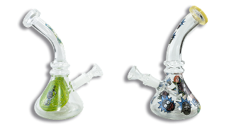 "7"" Rick and Morty Bent Neck Waterpipe"