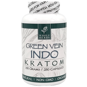 Whole Herbs Kratom Capsules Bottle Indo 125 Grams 250ct